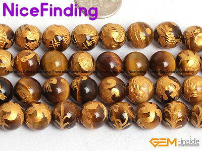 """Natural Carved Tiger Eye Buddhist Mala Lucky Stone Beads For Jewelry Making 15"""""""