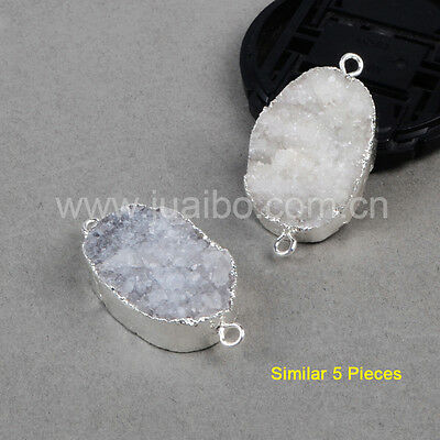 Wholesale 5Pcs Natural Color Agate Druzy Drusy Connector Silver Plated BS0070