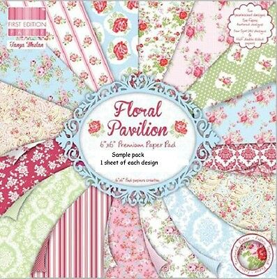 Dovecraft Floral Pavilion Papers 6 X 6 Sample Pack  1 Of Each Design - 16 Sheets