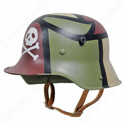 WW1 GERMAN M16 HELMET - 3 COLOUR CAMO WITH SKULL - Repro Military With Liner
