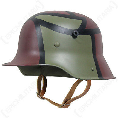 WW1 GERMAN M16 HELMET - 2 COLOUR CAMO - Repro Military Red Green With Liner