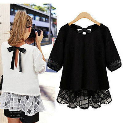Fashion Womens Summer Casual Loose Tops Short Sleeve Lace Shirt Plus Size Blouse