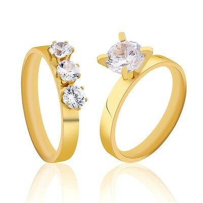 MODOU Sz 5-9 Gold Stainless Steel Three-Stone/Solitaire Wedding Band Rings Set