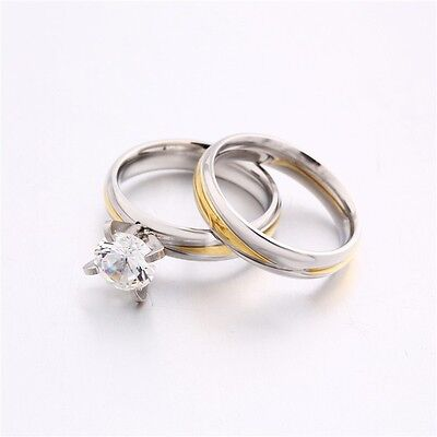 MODOU Two-Tone Stainless Steel Engagement/Wedding Band Rings Set Size 5-9 2PCS