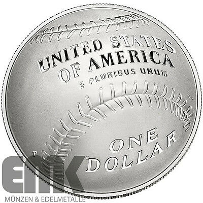USA - 1 Dollar 2014 - National Baseball Hall of Fame - gewölbte Silbermünze - PP