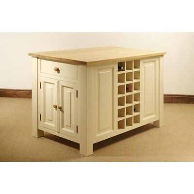 Milton Painted Solid Pine with Waxed Top Furniture Kitchen Island Unit