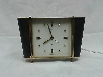 Vintage Retro 1950s Smiths Sectric Electrical Black & Brass Mantel Clock