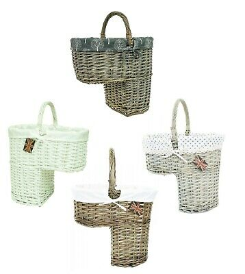 e2e Wicker Stair Step Storage Basket with Carry Handle & Liner Choice Of Colours