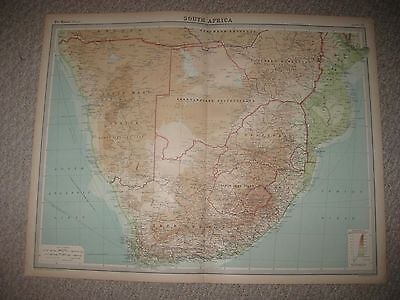 Huge Antique 1922 South Africa Times Atlas Map Cape Province Colonial Orange Nr