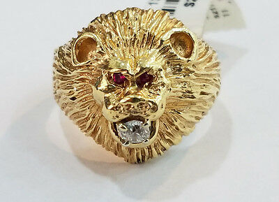 9339ba1225cc0 LION HEAD RUBY Red Eyes Gold Plated Mens Ring - $24.90 | PicClick