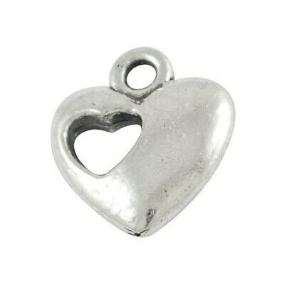 Pack of 30 x Antique Silver Tibetan 13mm Charms (HEART) HA08525