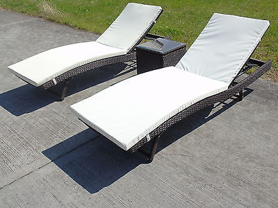 Sun Lounger Bath Seater Rattan Wicker Dining Outdoor Garden Furniture Set
