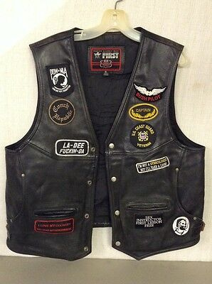 First Classic Leather Motorcycle Vest Size Xl- Conch Republic Club Gang Patches
