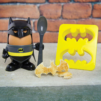 Batman Egg Cup & Logo Toast Toaster Cutter Egg Soldiers Breakfast Set  DC Comic