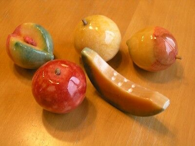 Group 5 Vintage Stone / Alabaster / Marble Fruits Apple Peaches Apple-Pear Melon