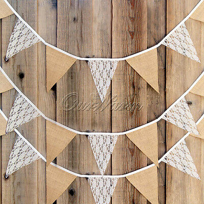 Rustic Lace Burlap Bunting Pennant Triangle Flag Wedding Party Birthday Decor