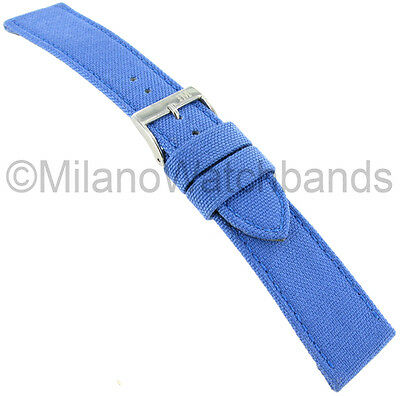 24mm Morellato Padded Stitched Genuine Cordura Canvas Light Sky Blue Watch Band