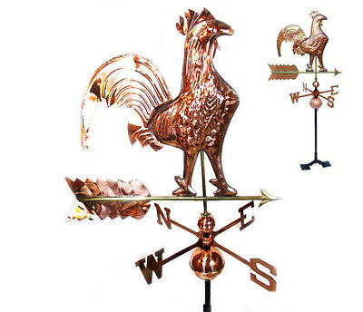 Copper Polished Rooster Weathervane Weather Vane Roof bracket Mounting Hardware