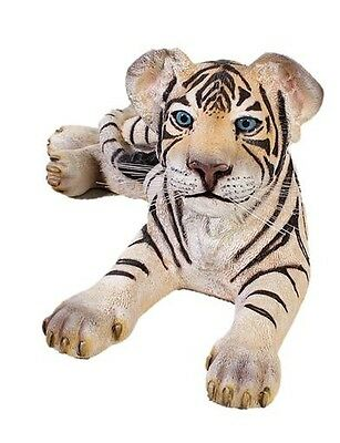 Tiger White Laying Statue LIFE SIZE Statue Tiger Cub Prop Display