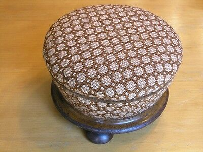 Early Antique Round Exotic Wood Base Needlepoint Upholstery Hand Made Stool 1of2