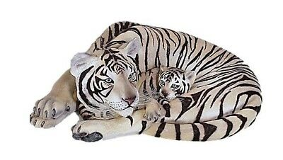 Tiger White Siberian Statue Tigress w Cub Jungle Tiger New LIFE SIZE  -Free Ship