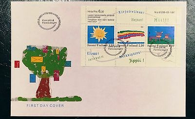 Finland FDC 1991.09.17. Children's Drawings - Complete Minisheet