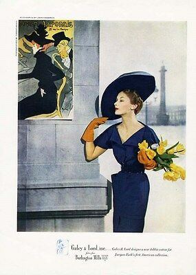 JACQUES FATH Fashion Page Ad 1949 - Elegant Dress & Wide Hat - Galey & Lord