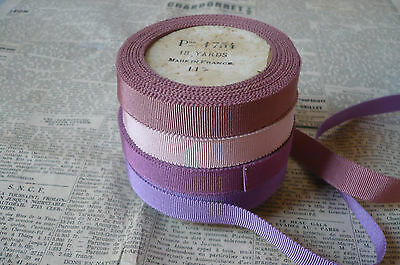 Vintage French Petersham/Grosgrain Ribbon. 4 Lovely Colours. 15mms. x 1 Metre