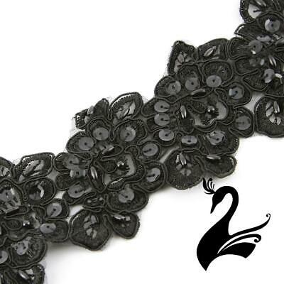 Lace Trim Rose Applique Motif with Beading Style 2019 (Price per 5 Flowers ) - B