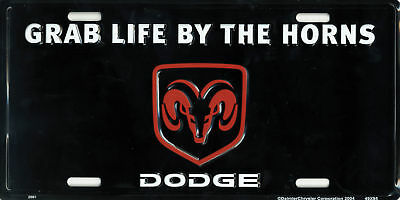 dodge grab life by the horn license plate truck tractor ram hemi magnum rt tag
