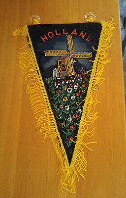 Holland Windmill Tulips Netherlands Souvenir Rayon Pennant