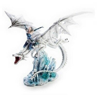 Majestic Ornament Collection Lady Ride Girl Riding Large White Dragon Figurine