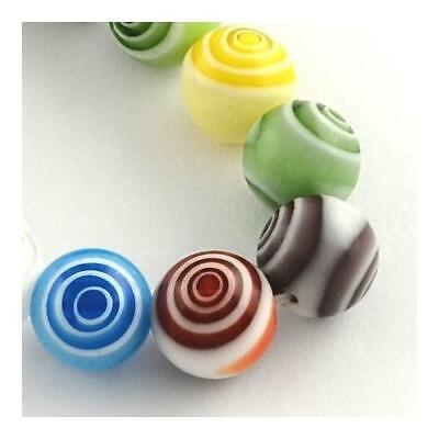 Packet 30 x Mixed Millefiori Glass 4mm Plain Round Beads Y03055