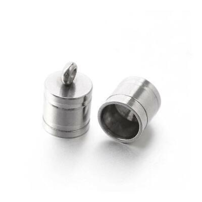 Packet of 4 x Silver Stainless Steel 7 x 10mm Kumihimo Barrel End Caps Y03305