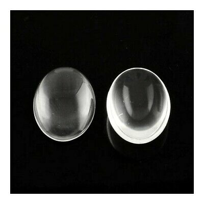 Packet of 15 x Clear Glass 22 x 30mm Oval-Shaped Flat-Backed Cabochon Y03780