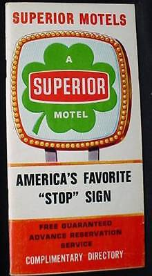 SUPERIOR MOTELS Complimentary State Directory 1968