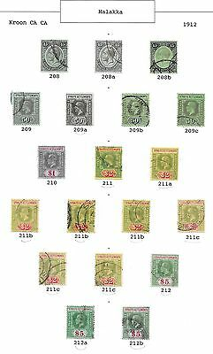 Malaya/Straits stamps 1912 Collection of 19 CLASSIC stamps  HIGH VALUE!