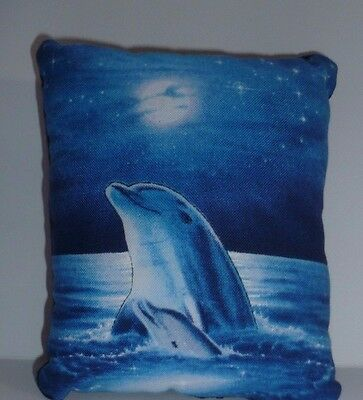 Dolphin Pin Cushion Cotton & Blue Velvet  Reverse in organza gift bag  Brand New