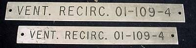 2 Ships Equipment Signs Plaque Vent Recirc. 01-109-4 Nautical Hardware