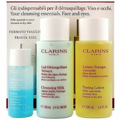 Clarins Milk 100ml, Toning Lotion 100ml & Instant Eye Make Up Remover 30ml