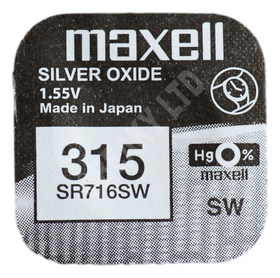 GENUINE Maxell 315 SR716SW Silver Oxide Watch Battery 1.55v [1-pack]
