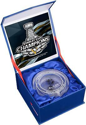 Pittsburgh Penguins 2016 Stanley Cup Champs Crystal Puck Filled with Finals Ice