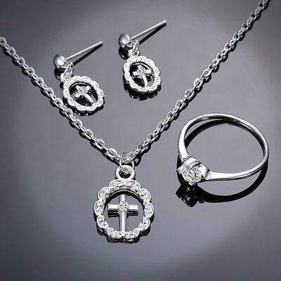 Belief 3X Of Set Jewelry Cross 18k White Gold Crystal Necklace Earrings Ring