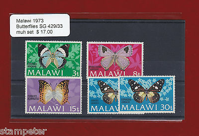 1973 Malawi Butterflies SG 429/33 Set of 5 MUH