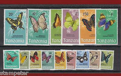 1973 Tanzania Butterflies SG 158/72 Set of 15 MUH