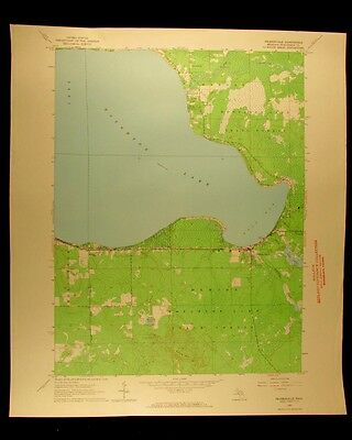 Prudenville Lake Houghton vintage Michigan 1963 old USGS Topographical chart