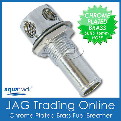 "CHROME PLATED BRASS STRAIGHT FUEL BREATHER/VENT 16mm 5/8"" - Boat/Car/Gas Tank"