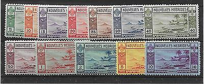 New Hebrides (French) Sgf53/64 1938 Gold Currency Set Mtd Mint