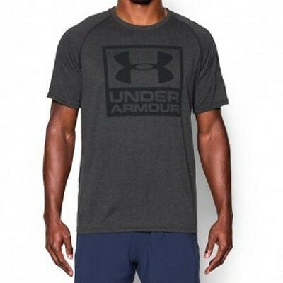 "Under Armour- T-Shirt. ""UA Tech Boxed Logo"". grey. S-L. Kampfsport. Lifestyle."