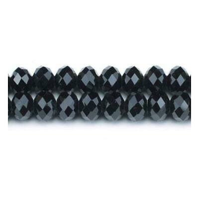 Strand 90+  Black Czech Crystal Glass 4 x 6mm Faceted Rondelle Beads GC3523-2